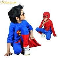 2014 NEW Retail Spiderman Superman Kids Clothing Sets Fashion Cartoon Children Summer Shirt Pants Boys Tees