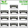 10pcs FREE SHIPPING TAX FREE IP67 waterproof truck tractor 4x4 Offroad combo beam 12 Inch off road car 72W Led Light Bar 12 volt