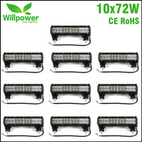 10pcs high power double rows IP67 waterproof truck tractor 4x4 Offroad combo beam 12 Inch off road car 72W Led Light Bar 12 volt