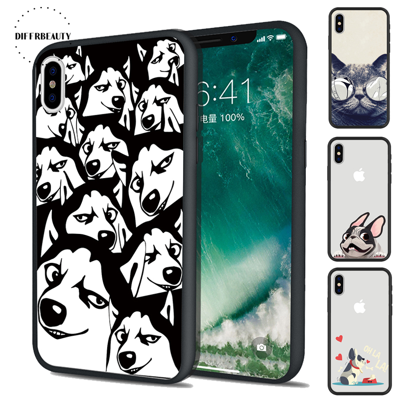Phone Cases For iPhone X 8 6 S 7 6Plus 5 Cartoon Animal Cats Second Sunglasses Pug Lovely DIFFRBEAUTY Black PC Soft Cover Coque ...