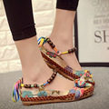 2017 New fashion Women Ethnic Lace Up Beading Round Toe Comfortable Flats Colorful Loafers casual embroidered cotton shoes 7013W