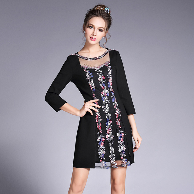 a626a863ca US $45.99 30% OFF|Branded Fashion Plus Size L 5XL Clothing 2017 Women  Autumn Summer Dress Gauze Beading Floral Embroidery Dresses Vestidos-in  Dresses ...