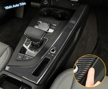 Lapetus Car Styling Stalls Gearshift Box Cover Trim For Audi A4 B9 A5 Sedan Avant Allroad Quattro 2016 - 2020 Carbon Fiber Look lsrtw2017 fiber leather car trunk mat for audi a4 allroad 2018 2019 a4 avant a4 b9
