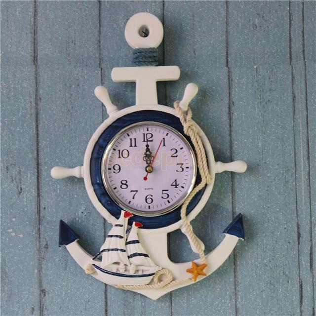 European Mediterranean Nautical Ship Steering Wheel Rudder Parlor Bedroom Anchor Shape Wall Clock