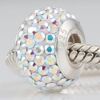 Pave Color Crystal Zircon Ball Screw Thread Charm Beads Fits Pandora Bracelets 925 Sterling Silver Ocean