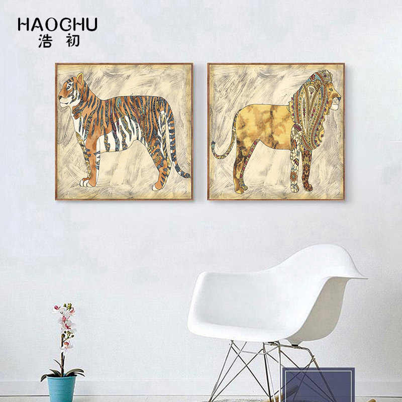 Haochu Modern Ethnic Animals Realistic School Bedroom Kitchen Canvas Picture Wall Poster Home Decor Oil