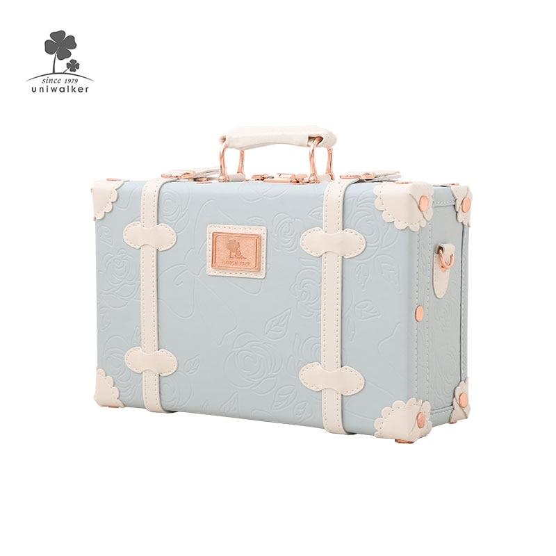 Cheap Mini Small Makeup Suitcase Bag Pu Leather Kids Cute Travel Bags Childrens Luggage Sale Beauty Case Retro Suitcase Sale