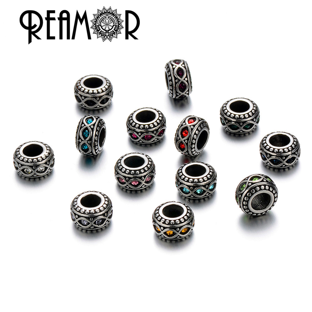 REAMOR 5pcs/lot Antique Silver Tone Rhinestone Spacer Ring Beads European Beads For Women Charms Bracelets Jewelry Making