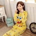 2017 Conjuntos de Pijama Pijamas Mulheres Pijamas Mujer Feminino Femme Casuais Senhora Encantadora Beleza Doce Pijama Roupão Sleepwear Amarelo