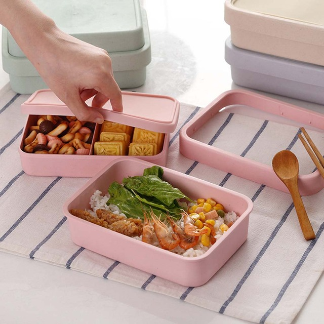 Portable Multifunction Double-Layered Eco-Friendly Bamboo Lunch Box
