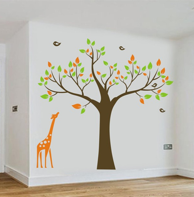 1.3M Giraffe Tree Birds Removable Wall Stickers Kids Nursery Room Vinyl  Decals Big Decoration Decals For Baby Room ES 10