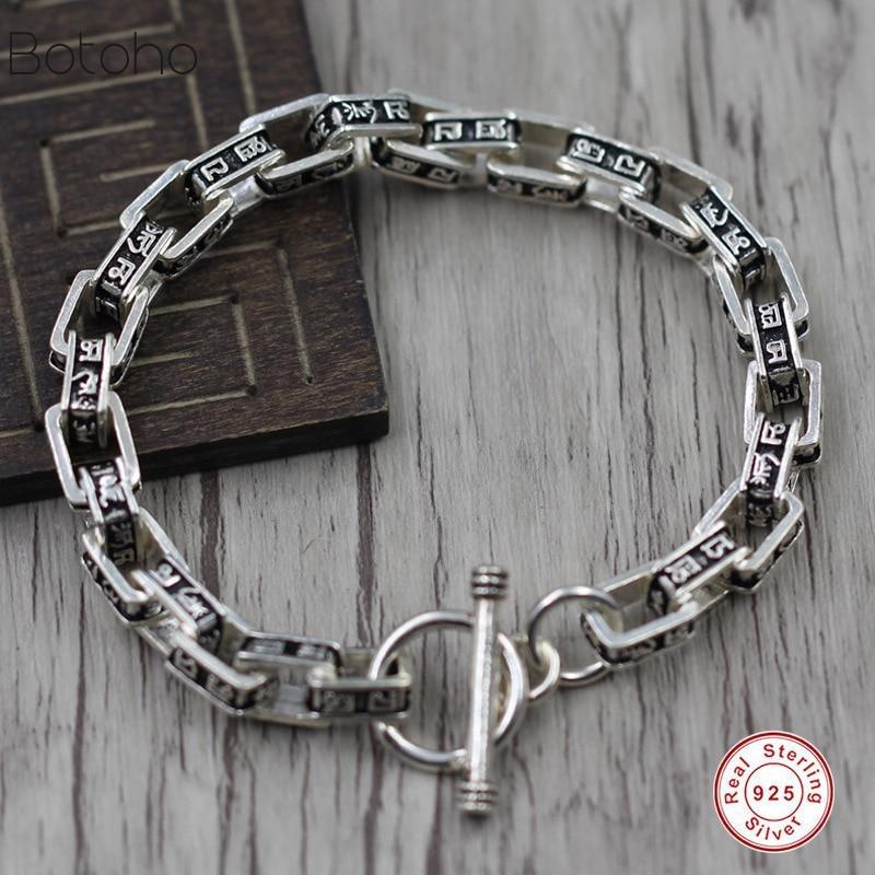 Bracelet pour hommes en argent Sterling 925 Bracelet Punk rock rétro bracelet en argent sterling lourd bijoux de luxe pour hommes