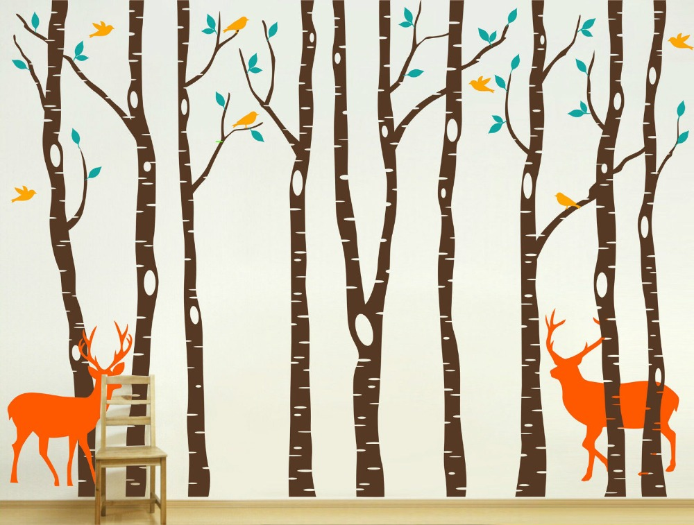 Vinyle arbre Stickers muraux 260x360 cm renne arbre forêt oiseaux stickers muraux décalcomanie décor pépinière Stickers muraux pour chambre d'enfants D661