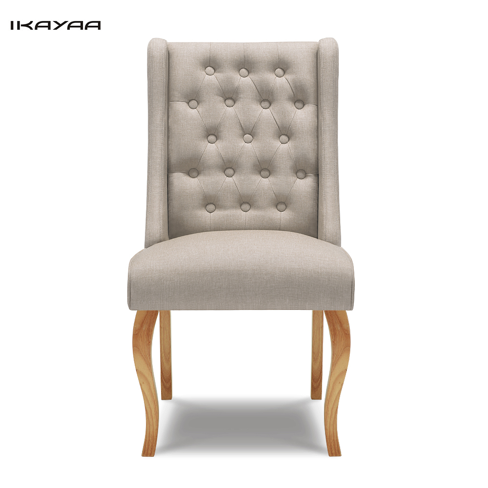 Ikayaa Home Dining Chair Tufted Kitchen Chair Linen Fabric