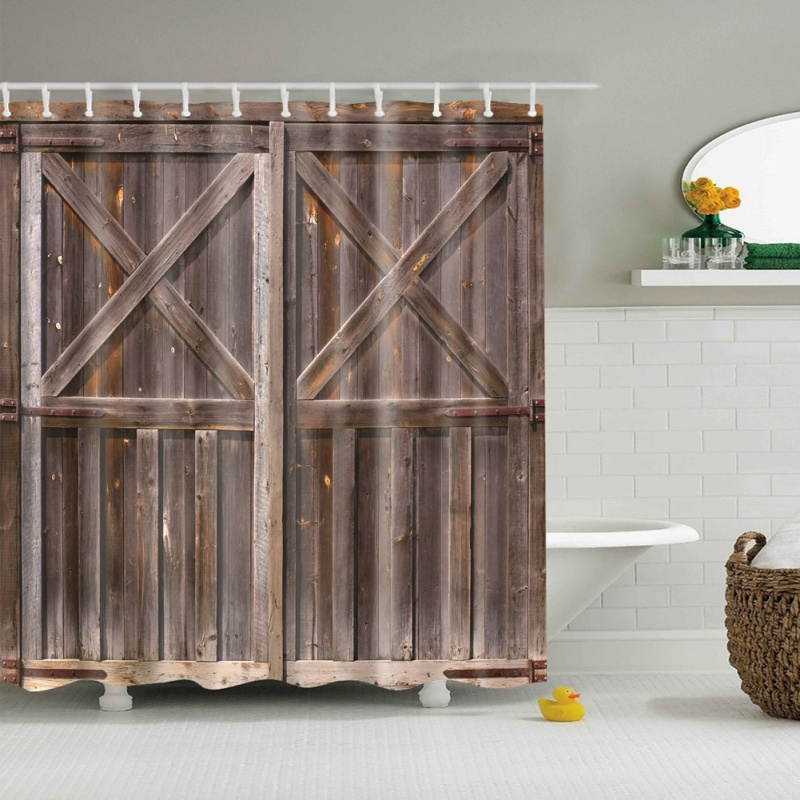 Rustic Shower Curtain Old Wooden Barn Door Of Farmhouse