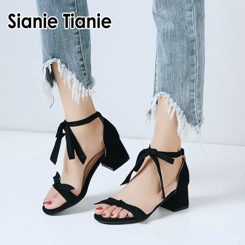 Sianie Tianie 2019 new fashion woman summer heels shoes front cross tied ankle strap women sandals with bowtie plus size 33 44-in High Heels from Shoes on AliExpress - 11.11_Double 11_Singles' Day 1