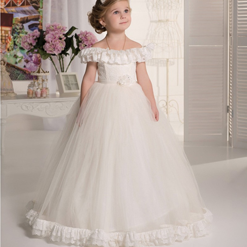 Pageant Gown Vestido Daminha Casamento Lovely ivory   flower     girl     dresses   off the shoulder lace first communion   dresses   for   girls