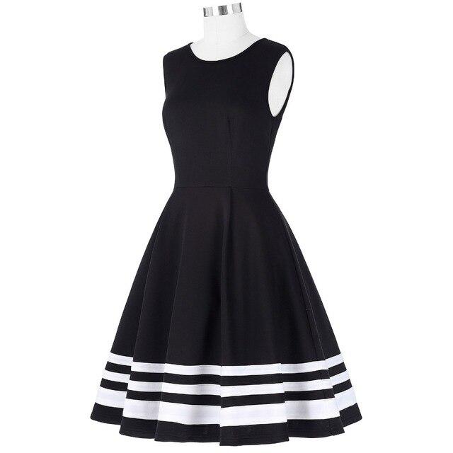 Belle Poque 2017 Retro Vintage Sleeveless Black White Print 50s 60s Vintage Dresses Audrey Hepburn Rockabilly Womens Clothing