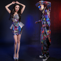 Sexy Multicolor Printed Rivets Shining Dress Suits Costume For Dance Team Stage Outfit Female Female Singer Nightclub Bar Wear