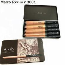Cao Cấp Marco RENOIR Nghệ Thuật Chuyên Nghiệp Phác Thảo Bộ Bút Chì Hộp Sắt Không độc hại Pastel Vẽ Bút Chì 3001 12 chiếc /H/F/HB/B/2B/3B