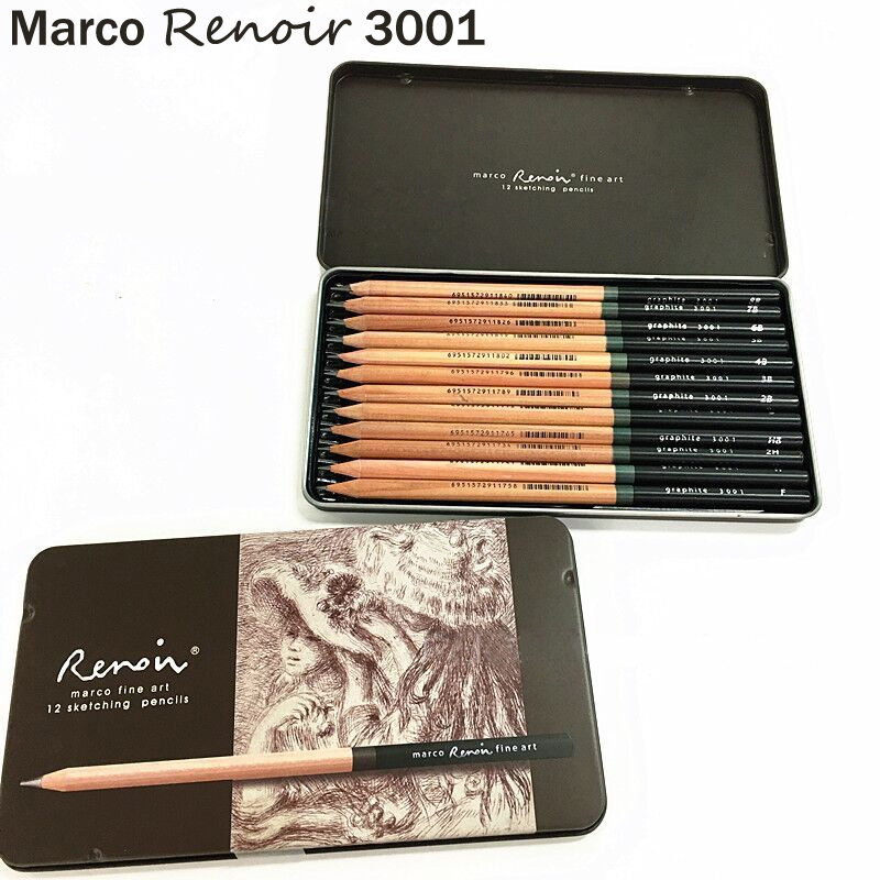 Marco Renoir Premium Professional Art Sketching Pencil Set Iron Box Non-toxic Pastel Drawing Pencils 3001-12pcs /H/F/HB/B/2B/3B