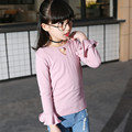 Girls tshirt Kids t-shirt Solid T-shirt Pearl collar long flare sleeve t shirt 2017 new arrival tshirts for girl fashion tops