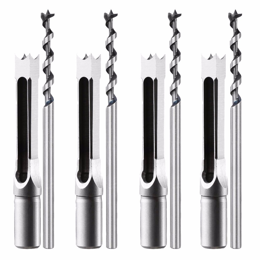 Square hole drill bit 1/4 5/16 3/8 1/2 Wood Mortise Chisel & Bit Set with Twist Drill