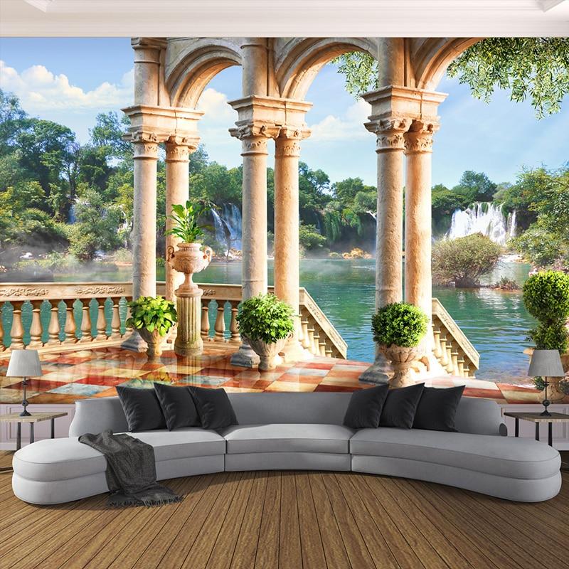 Custom Wallpaper 3D Stereo Space Balcony Waterfall Scenery
