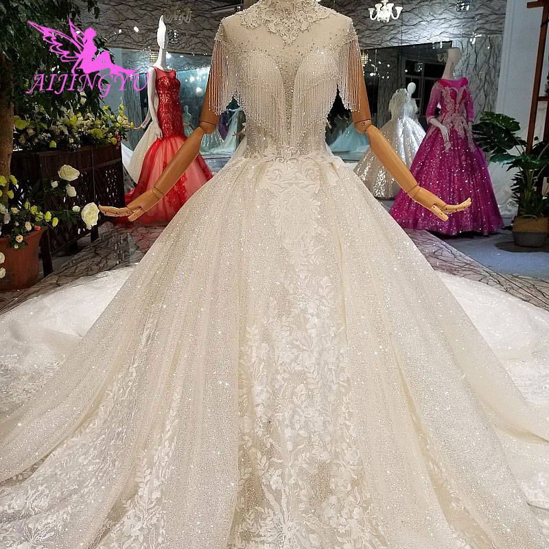 AIJINGYU Affordable Wedding Dresses Decorations Plus Size With Sleeves 2 In 1 Indian Sexy Fat Size Gown Lace Bridal Robes