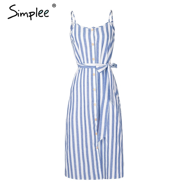 Stripe Print Women Summer...