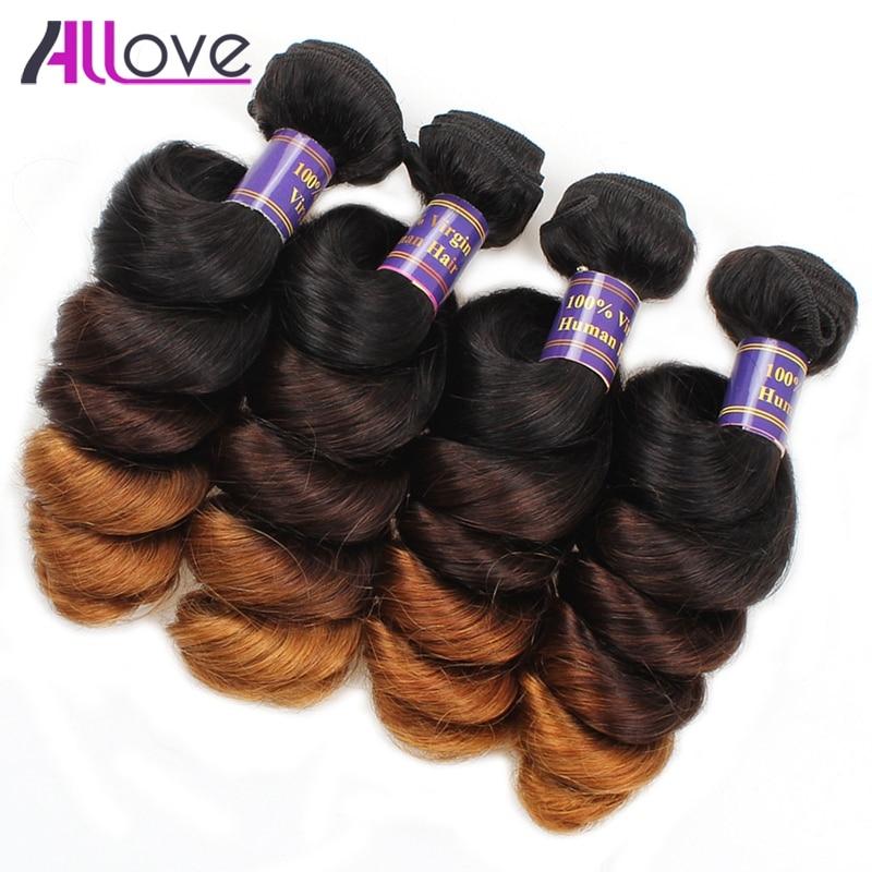 Allove Hair Peruvian Human Hair Weave Ombre T1B/4/30 Loose Wave Human Hair 4Bundles 100% Remy Hair Shipping Free 12-24 Inch