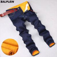 Autumn Winter Blue Warm Jeans Men Brand Trousers Flocking Soft Men S Golden Fleece Jeans Denim