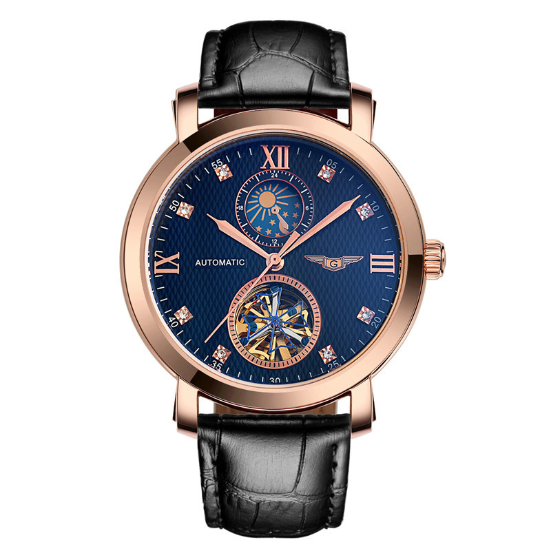 GUANQIN GJ16019 automatic tourbillon mechanical Men watches big dial waterproof genuine leather strap diamond watches Male