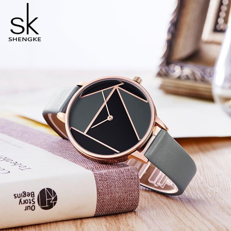 SK Leather Watchband Strap Women's Dress Business Watch Elegant Quartz Wristwatch Clock 2