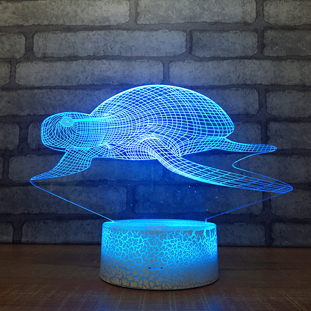 Diligent Tortoise 3d Visual Lamp Acrylic Creative Custom Led Bedside Table Lamps For Living Room Christmas Decorations Gift For Baby Room Famous For High Quality Raw Materials, Full Range Of Specifications And Sizes, And Great Variety Of Designs And Colors