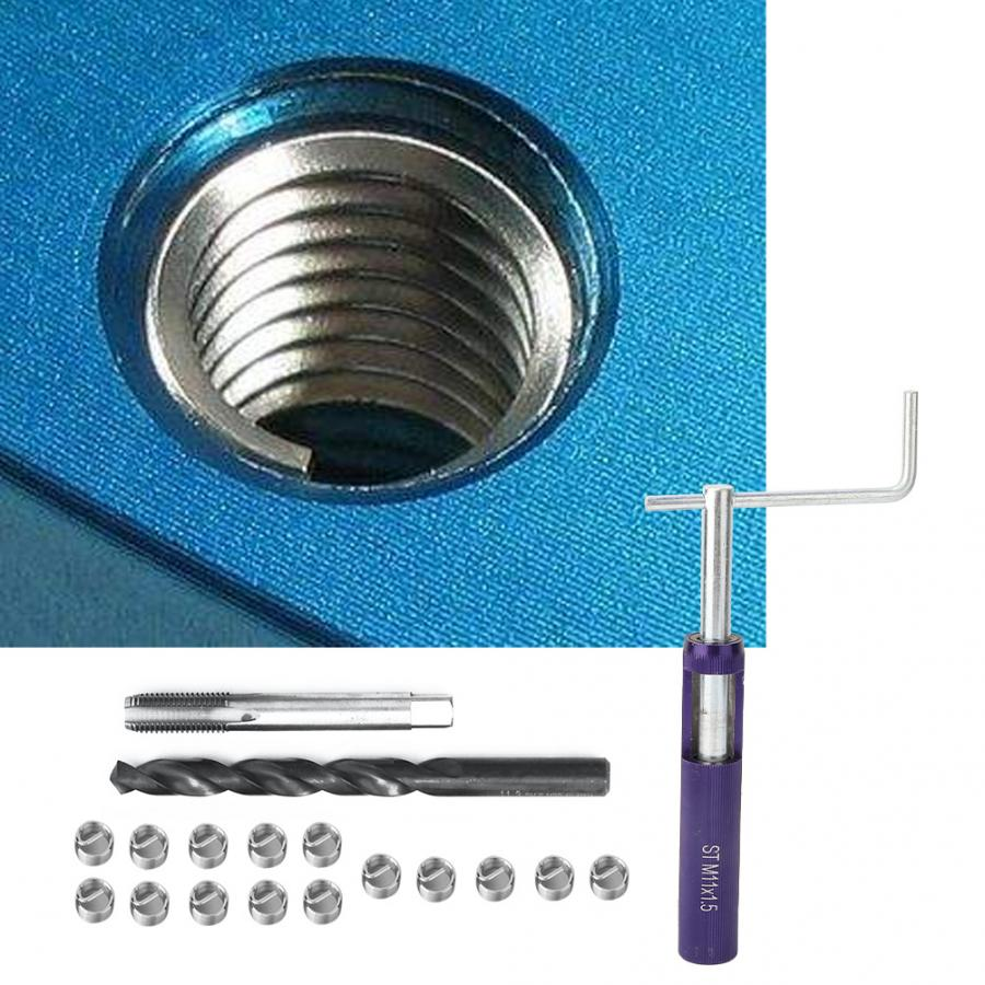 18pcs M11/14 Stainless Steel Wire Screw Sleeve Thread Repair Insert Kit Tool Set Stainless Wire Sleeve Insert