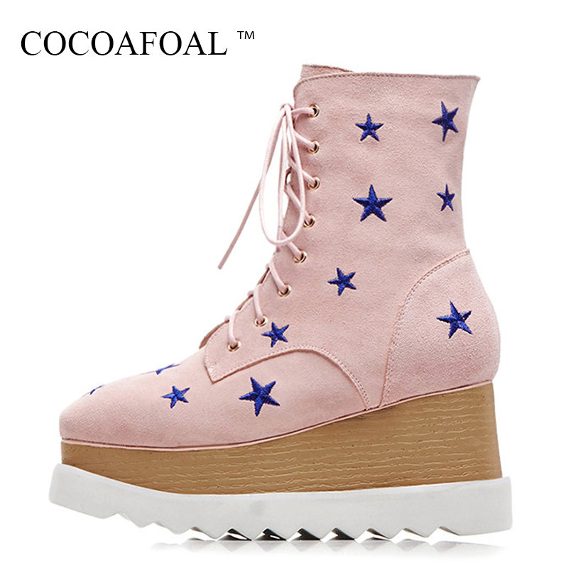 COCOAFOAL Genuine Leather Wedges Martin Boots Fashion Black Autumn Winter Flat Shoes Plus Size Woman Lace Up Chelsea Ankle Boots women fashion ankle boots plus size lace up casual shoes woman martin boots for spring autumn winter hh222 2
