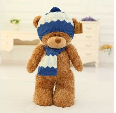 big lovely plush teddy bear toy dark brown teddy bear with blue hat and scraf doll gift about 50cm new creative plush bear toy cute lying bow teddy bear doll gift about 50cm