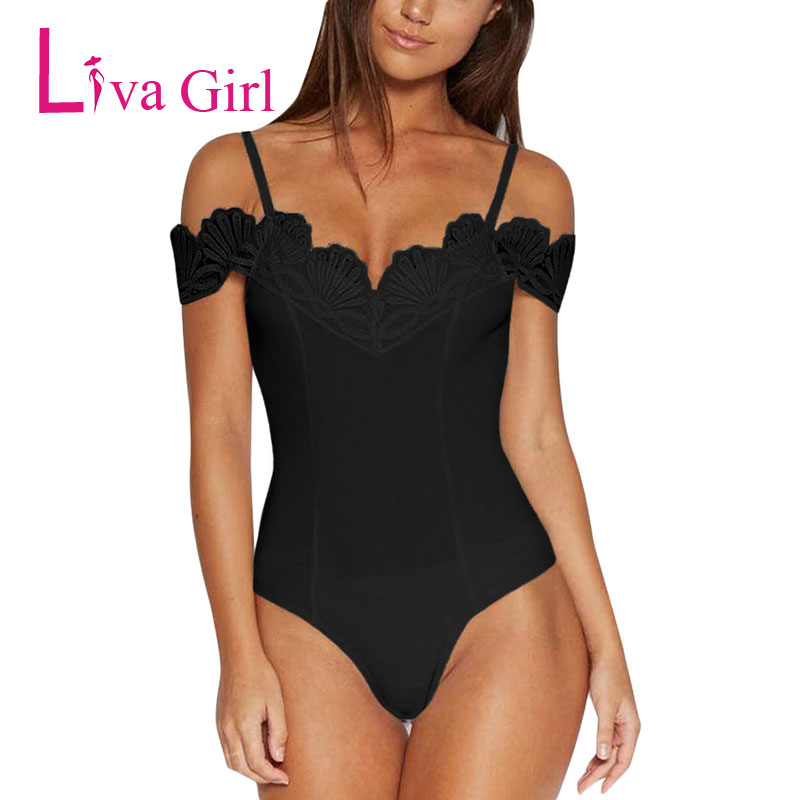 Liva Girl Summer Sexy Bodycon Bodysuit 2019 Women Off Shoulder Strap Crochet V Neck Jumpsuits White Black Streetwear Body Tops