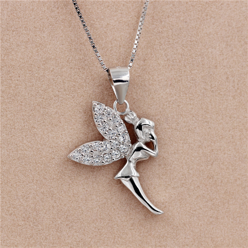 Uloveido Angel Pendant Necklace 925 Sterling Silver Jewelry Necklace Women Costume Jewelry Pendants with Chain Box 40%off DZ104-in Pendant Necklaces from ... & Uloveido Angel Pendant Necklace 925 Sterling Silver Jewelry Necklace ...