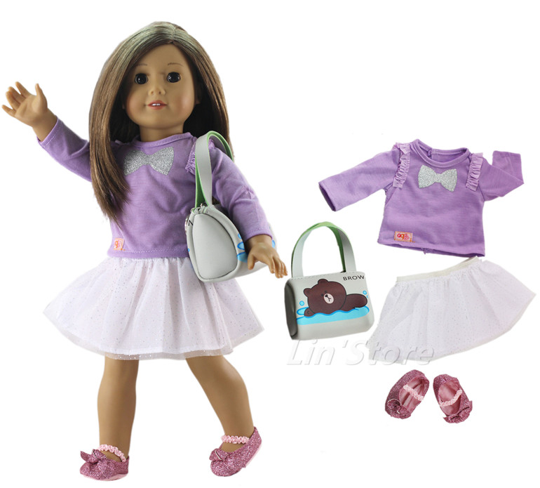 4 PCS Doll Clothes Outfit Clothes+bag+shoes For 18 Inch American Doll Many Style For Choice A16