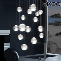 EKOO Modern Lighting Crystal Bubble Ball Pendant Island Cluster Lamp Fixtures Lights LED Halogen G4 Bulbs Included Warm White