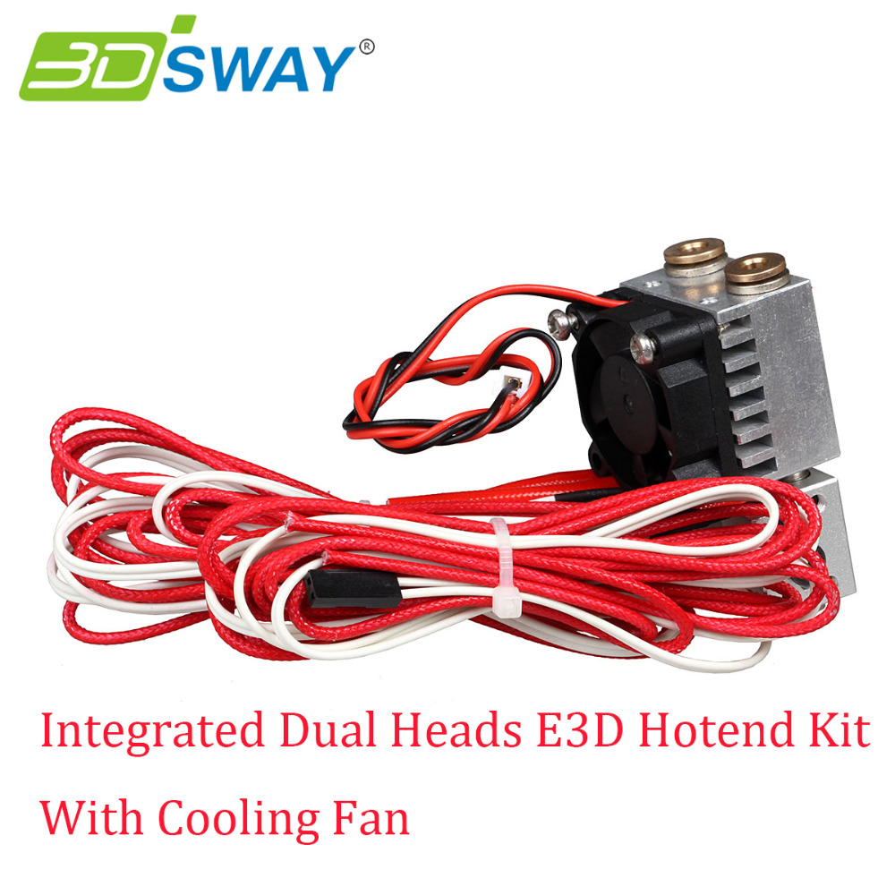 3DSWAY All metal Long distance Feeding Copper Fittings Integrated Dual Heads 3D Hotend Kit with Cooling