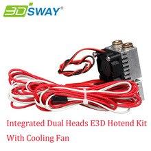 3 DSWAY Все металлические междугородной Кормления Меди Фитинги Интегрированной Двойной Головы 3D Hotend Комплект с Охлаждающим Вентилятором для 1.75 мм Нити