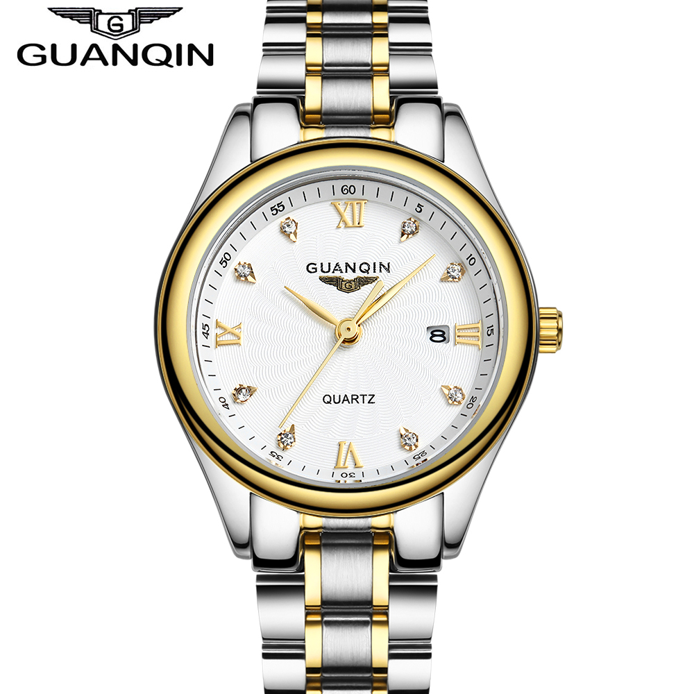 QUANQIN Fashion Women Quartz Watches Lady Rhinestone Luxury Brand Gold Watch Waterproof Business Wristwatch Relogio Feminino rigardu fashion female wrist watch lovers gift leather band alloy case wristwatch women lady quartz watch relogio feminino 25