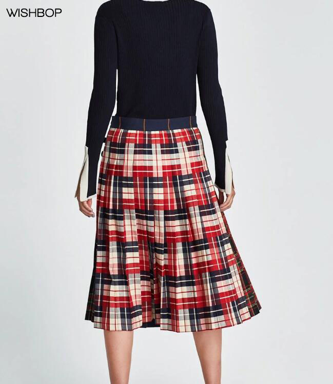 bbaf66369 WISHBOP NEW 2018 Fashion Spring Woman Navy Blue Contrasting CHECKED ...
