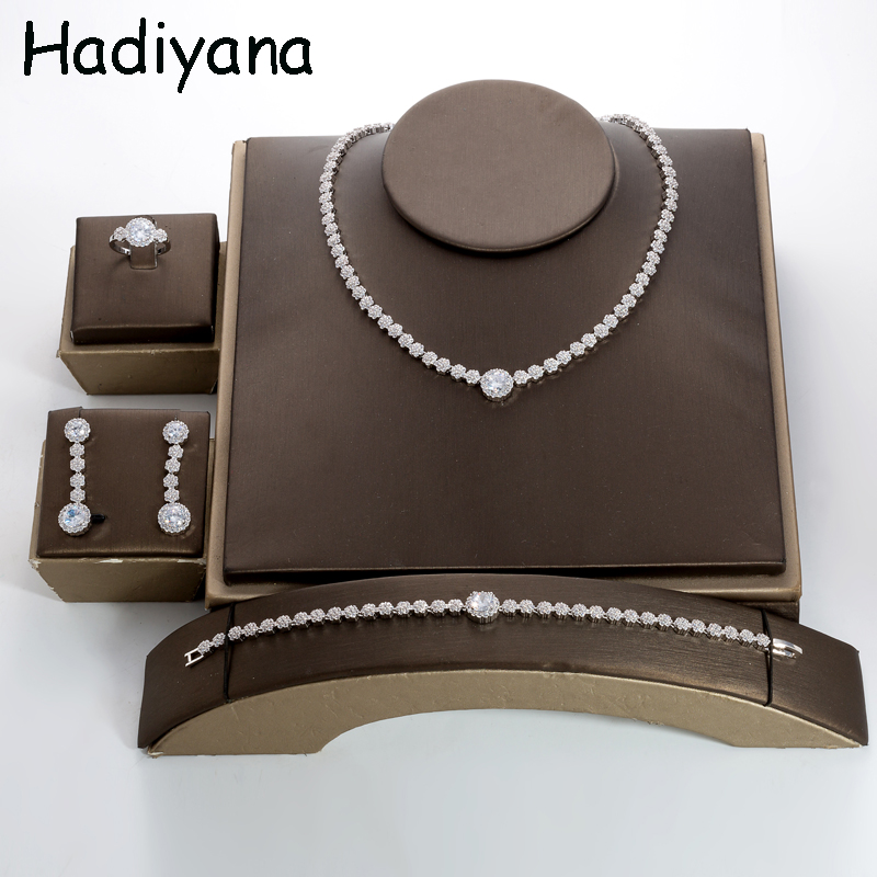 Jewelry Set HADIYANA Simple Style Women Charm Party Top Quality Luxury Zirconia Round Fashion 4pcs TZ8140 Conjunto de joyas