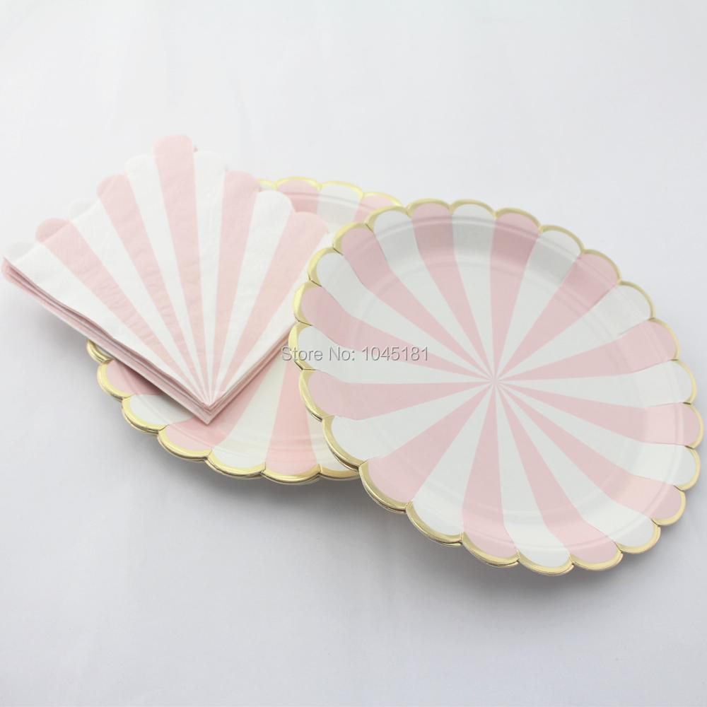 "Baby Pink Scallop Canape Plates,7""/9"" Paper Plates with Shiny Gold Foil Edge, 25x25 Sweet Party Paper Napkins for Girl Birthday"