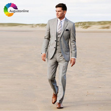 Gray Men Suits Formal Business Wear Slim Fit Wedding Groom Tuxedos 3 Pieces (Jacket+Pants+Vest) Bridegroom Costume Homme