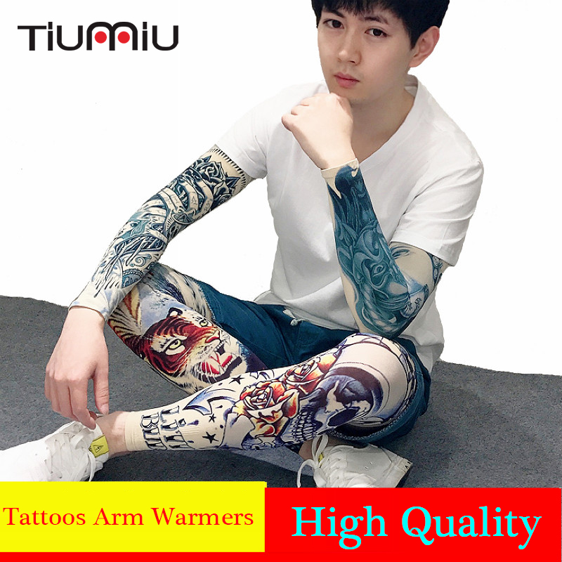 S,L Cool Tattoos Printed Ice Fabric Cycling Arm Warmers Basketball Running Bicycle Arm Sleeve Arm Warmers Camping Sun Protection